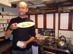 David Harradine with cabbage and eggs extravaganza