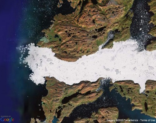 Satellite view of Ilulissat Icefjord